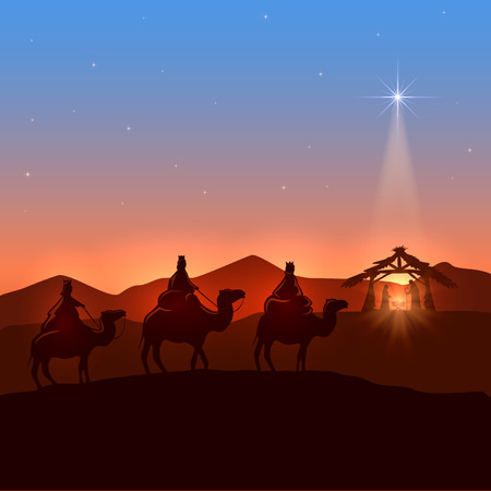 Christmas background with three wise men and shining star, Christian theme, illustration.