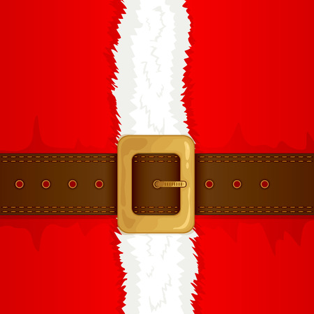 Christmas background of Santa suit with belt and gold buckle, illustration.