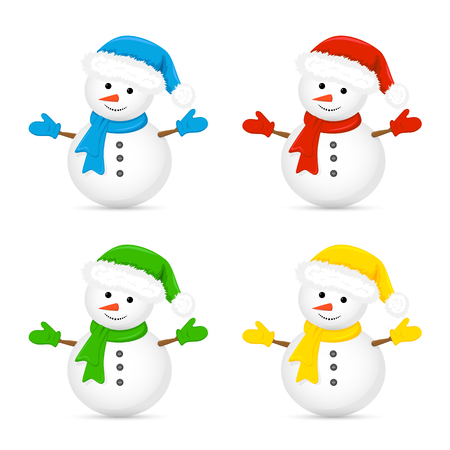 Christmas snowman in Santa hat and red scarf isolated on white background, illustration.