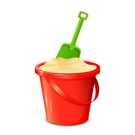 Red bucket with sand and green shovel isolated on white background, illustration.