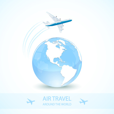 Illustration for Air travel with white plane and earth globe, around the world, illustration. - Royalty Free Image