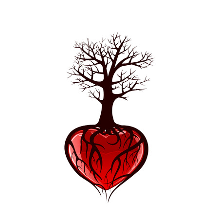 Illustration pour Tree with red heart and roots in the form of heart, illustration - image libre de droit