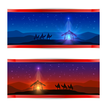Illustration for Two Christmas cards with Christmas star, birth of Jesus and three wise men, illustration. - Royalty Free Image