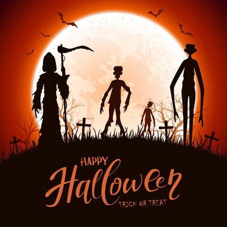 Illustration for Dark silhouettes on cemetery. Halloween night background. Card with Grim Reaper, zombie, tall monster, bats and spiders. Illustration can be used for holiday design, cards, invitations and banners. - Royalty Free Image