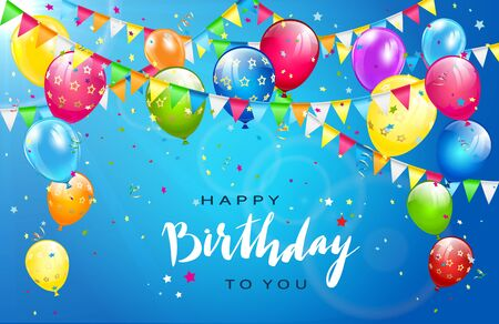 Illustration for Lettering Happy Birthday on sunny blue background. Flying colorful balloons, multicolored pennants and confetti. Illustration can be used for holiday design, posters, cards, website, banners. - Royalty Free Image