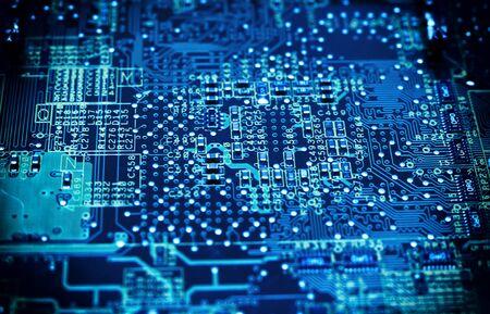 Photo pour Ð¡ircuit board. Computer techologies, toned blue color. - image libre de droit