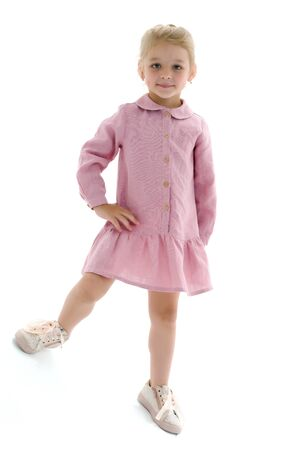 Photo pour Cute little girl in a light summer dress. - image libre de droit