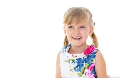 Photo pour Charming little girl laughing happily in studio - image libre de droit