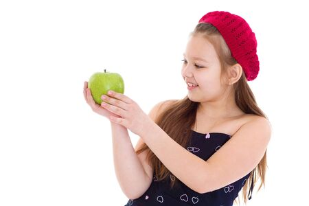 Photo for Little girl with apple.Isolated on white background. - Royalty Free Image
