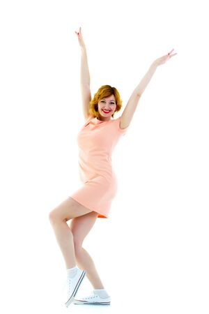 Foto de Beautiful sexy young woman dancing isolated in studio - series o - Imagen libre de derechos