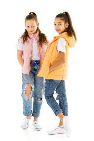 Photo pour Two cute little girls in full growth - image libre de droit
