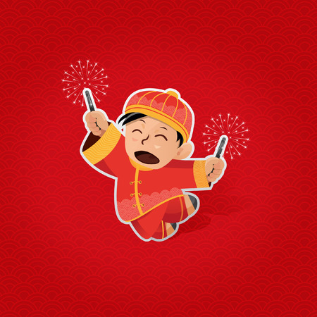 Cheerful boy playing with sparkles during Lunar New Year