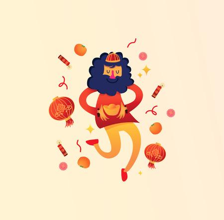 Chinese Man Celebrating Chinese New Year