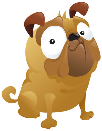 A fun cartoon pug dog smirking proudly