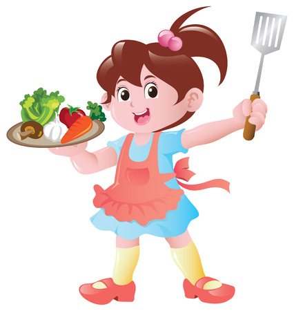 A little girl with a plate full of raw food ingredients, ready to cook