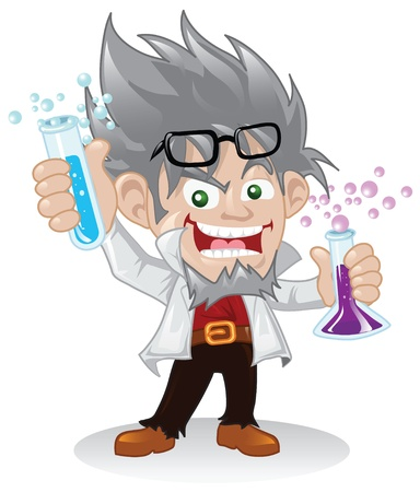 Mad scientist cartoon character.