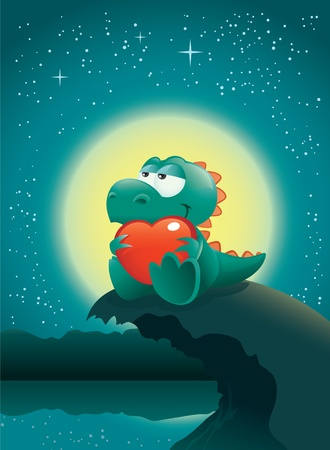 Valentine night scene with an adorable baby dinosaur deeply in love. The vector file is layered for easier editing. Great spacing for text, perfect for any Valentine's Day illustration needs!