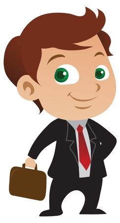 Illustration pour Cute young businessman with a positive attitude holding a briefcase. - image libre de droit