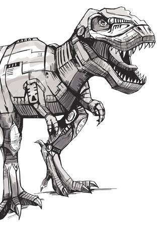 Illustration pour Hand drawn dinosaur vector design for t shirt printing - image libre de droit