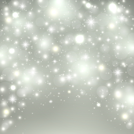 Illustration for Silver light background. Christmas design with snow, snowflakes, sparkle stars, glitter. Winter holiday background with xmas decoration. Vector illustration - Royalty Free Image