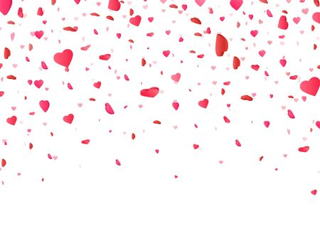 Illustration for Heart confetti falling on white background. Valentines Day background with 3d pink and red hearts. Color confetti for greeting cards. Vector illustration. - Royalty Free Image