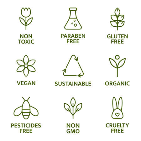 Illustration pour Natural and organic cosmetic line icons. Beauty product. Gluten and paraben free cosmetic. Allergen free badges. Non toxic logo. Skincare symbol. Eco, vegan label. Sensitive skin. Vector illustration - image libre de droit