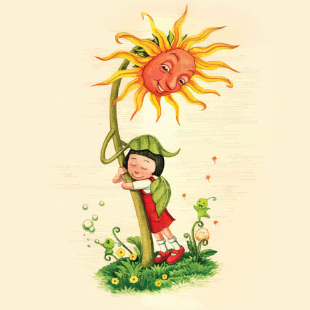 Ilustración de Artistic watercolor hand drawn fairytale sunflower hugging a girl with care and love. Children illustration. - Imagen libre de derechos