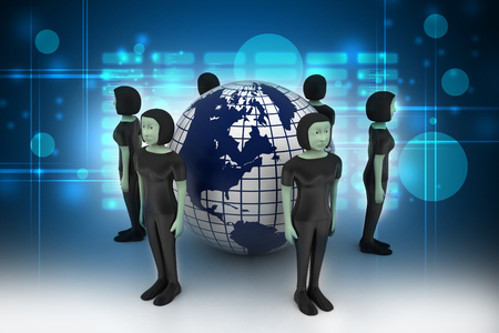 people around a globe representing social networking
