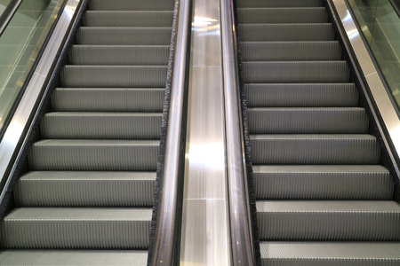 Modern style double escalator staircase in a shopping mall