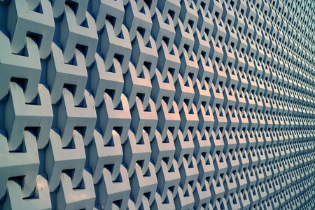 Diminishing perspective of a building 3D decorative pattern metallic grey outer wall