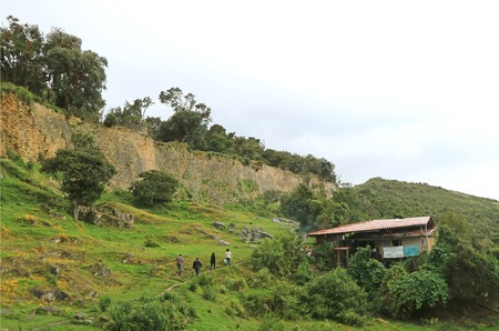 Visitors of Kuelap Ancient Citadel Hiking to the Mountaintop Archaeological Site, Amazonas Region, Northern Peru