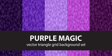 Triangle pattern set Purple Magic. Vector seamless geometric backgrounds with amethyst, lavender, plum, purple, violet triangles