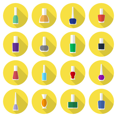 Multicolored nail polishes flat vector icon set: bottles with polishes of different colors on round yellow backdrops