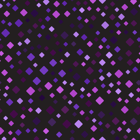 Diamond background. Seamless vector pattern - amethyst, lavender, plum, purple, violet rounded diamonds of different size on black backdrop