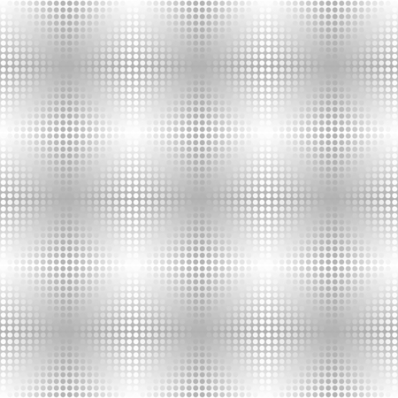 Ilustración de Silver metallic dot pattern. Vector seamless background - gray and white circles on gradient backdrop - Imagen libre de derechos