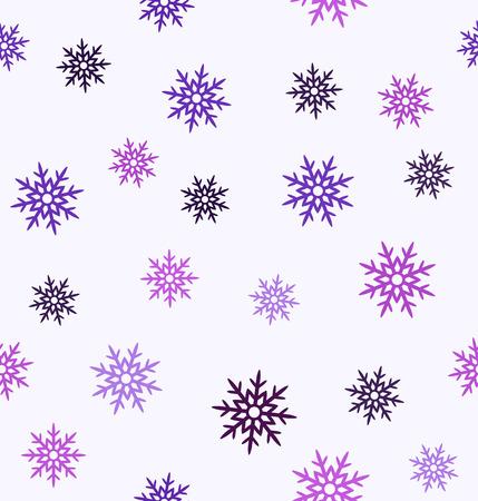 Snowflake pattern. Seamless vector background - amethyst, lavender, plum, purple, violet snowflakes on white backdrop