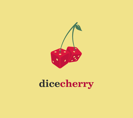 Dice Cherry  Logo Vector