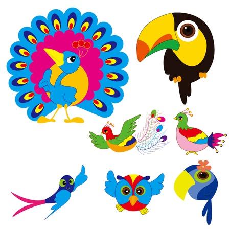 birds set  Phoenix, Swallow, piano birds, peacocks and parrots