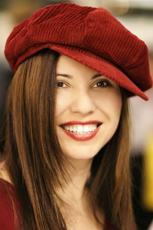 A woman in a beret,     Shot at F1.8 indoors available light