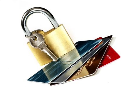 Cards and padlock - eg:  online banking, credit card transactions, trading, protection, fraud, identity theft, etc.