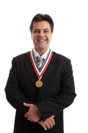 Top selling salesman standing proudly with award