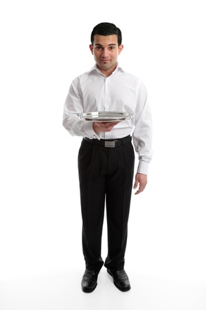 Servant, barman or waiter holding an empty silver tray.  Ready for your product if required.  White background.