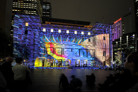 SYDNEY, NSW, AUSTRALIA - JUNE 4, 2014;  Play Me on Historic Customs House at Circular Quay Sydney during Vivid Sydney annual festival event    Participants interact to bring it to life in glorious ever-changing colour, light, form and sound