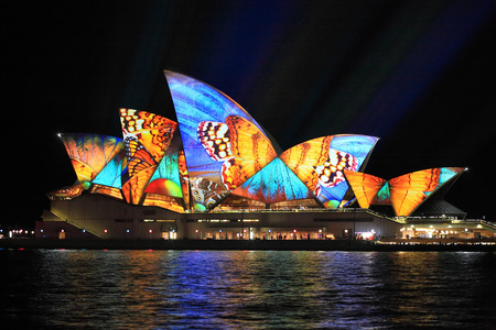 SYDNEY, AUSTRALIA - JUNE 2, 2014;  Vivid Sydney Festival, beautiful butterfly imagery projected onto the  Sydney Opera House  during Vivid  annual festival of light, music and ideas