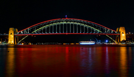 SYDNEY, AUSTRALIA - MAY 21, 2015;  Sydney Harbour Bridge lights up in vivid reds for Vivid Sydney 2015 and a harbour of vivid red water as well