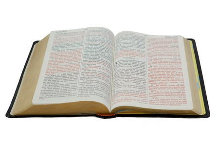 Photo of an open Holy Bible