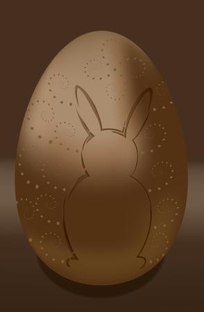 Chocolate egg  happy easter bunny