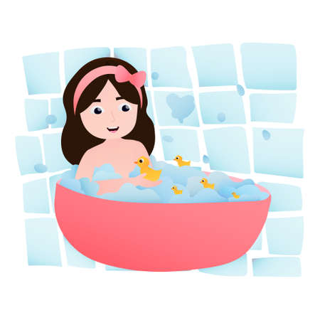 Illustration for Happy little girl taking bath, daily routine activity, bathtub with foam bubles, yellow rubber ducks, games in bathroom, having fun - Royalty Free Image