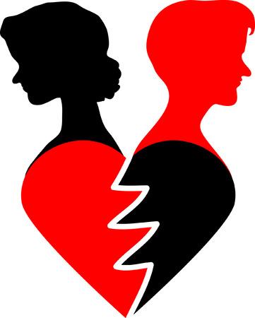 big red broken dappled heart on white background