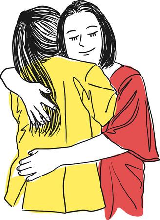 Vektor für Vector art drawing of mother hugging her teenage daughter,  mother's love on a white background. - Lizenzfreies Bild
